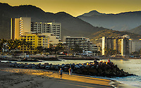 Fine Art Print. Landscape photograph of a golden sunrise in Banderas Bay, located in Puerto, Vallarta, Mexico.