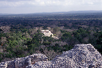 View of the Calakmul Bisophere Reserve from the top of Structure II, the Great Pyramid at the Mayan ruins of Calakmul, Campeche, Mexico. The Reserva de la Biosfera de Calakmul covers 7,231.85 square km and was established in 1989. Calakmul was made a UNESCO World Heritage Site in 2002.