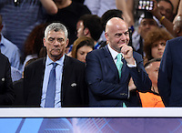 FUSSBALL  CHAMPIONS LEAGUE  FINALE  SAISON 2015/2016   Real Madrid - Atletico Madrid                   28.05.2016 Gianni Infantino auf dem Podium