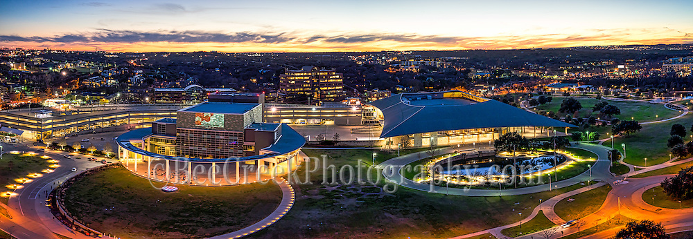 We captured this aerial cityscape of the Long Center and the Palmer Auditorium at night and thought it was a little different view of these two image together. The  Long Center is specifically set up for performing arts event and the palmer has many other similar type of events.