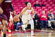 College Park, MD - NOV 16, 2016: Maryland Terrapins guard Destiny Slocum (5) brings the ball up court during game between Maryland and Maryland Eastern Shore Lady Hawks at XFINITY Center in College Park, MD. The Terps defeated the Lady Hawks 106-61. (Photo by Phil Peters/Media Images International)