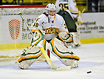 8 November 2008: University of Vermont Catamount goaltender Ashley Walenty, a Senior from Lake Placid, NY, warms up prior to a game against the Wayne State Warriors at Gutterson Fieldhouse, in Burlington, Vermont. The Catamounts were shut out by the Warriors 7-0...Mandatory Photo Credit: Ed Wolfstein Photo