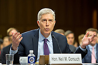 Judge Neil Gorsuch testifies before the United States Senate Judiciary Committee on his nomination as Associate Justice of the US Supreme Court to replace the late Justice Antonin Scalia on Capitol Hill in Washington, DC on Tuesday, March 21, 2017.<br /> Credit: Ron Sachs / CNP /MediaPunch