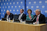 alestinian Finance Minister Shukri Bishara (L-R), Norway's Foreign Minister Espen Barth, European Union High Representative Catherine Ashton (2nd R), and Israel Minister of Strategic and Intelligence Affairs for International Relations Yuval Steinitz addresses a news conference on the Ad Hoc Liaison Committee after a meeting during the 68th Session of the UN General assembly in New York,  Sept 25, 2013, Photo by Stringer / VIEWpress.