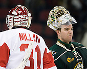 Kieran Millan (BU - 31), Rob Madore (Vermont - 29) - The visiting University of Vermont Catamounts tied the Boston University Terriers 3-3 in the opening game of their weekend series at Agganis Arena in Boston, Massachusetts, on Friday, February 25, 2011.