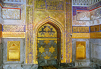 Inside Tilla Kari, Tilya-Kori, Madrasah in Registan Square, Samarkand, Uzbekistan. During restoration...