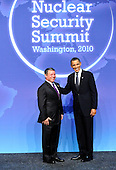 United States President Barack Obama welcomes King Abdullah II ibn Al Hussein of Jordan to the Nuclear Security Summit at the Washington Convention Center, Monday, April 12, 2010 in Washington, DC. .Credit: Ron Sachs / Pool via CNP