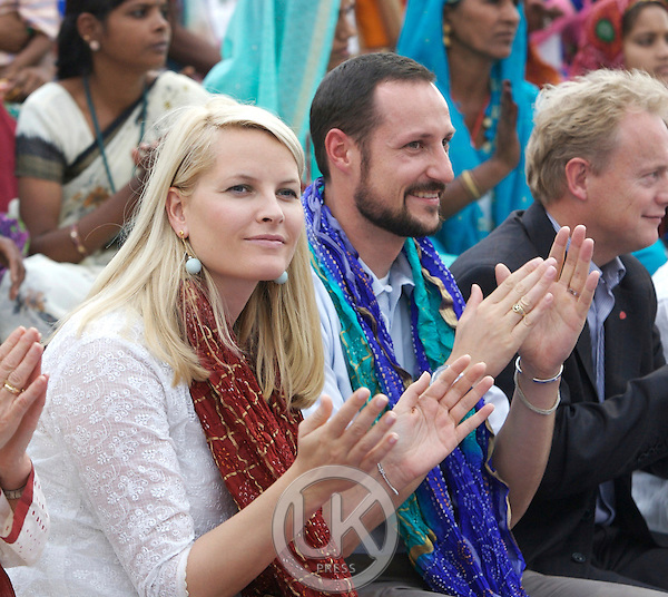 Crown Prince Haakon & Crown Princess Mette-Marit of Norway visit India. Local Democracy event, arranged by the Aagaz Foundation, at the National Crafts Museum in New Delhi.
