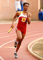 Dalilah Muhammad running a leg on USC's 4x400m relay at the USC Trojan Invitational held at Loker Stadium/Cromwell Field on Saturday, March 21, 2009. Photo by Errol Anderson, The Sporting Image.net