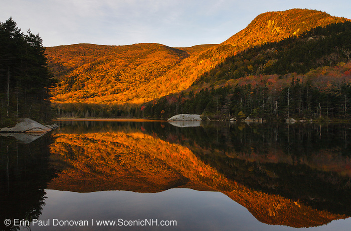 Kinsman Notch - Reflection of mountains in Beaver Pond in the White Mountains, New Hampshire during the autumn months.