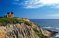 Scenic view of the cliffside Southeast Lighthouse. Block Island, Rhode Island.