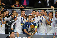 Cardiff City Stadium, Cardiff, South Wales - Tuesday 12th Aug 2014 - UEFA Super Cup Final - Real Madrid v Sevilla - <br /> <br /> Real Madrid&rsquo;s goalkeeper and Captain Iker Casillas celebrates with his team on winning the UEFA Super Cup 2014. <br /> <br /> <br /> <br /> <br /> Photo by Jeff Thomas/Jeff Thomas Photography