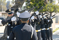 The Santa Monica Police Department  fire off a twenty-one-gun salute at City Hall during  the Police/Fire Public Safety Memorial on Thursday, May 12, 2011. The memorial recognized public safety officers who gave their lives in the line of duty to protect the citizens of Santa Monica..