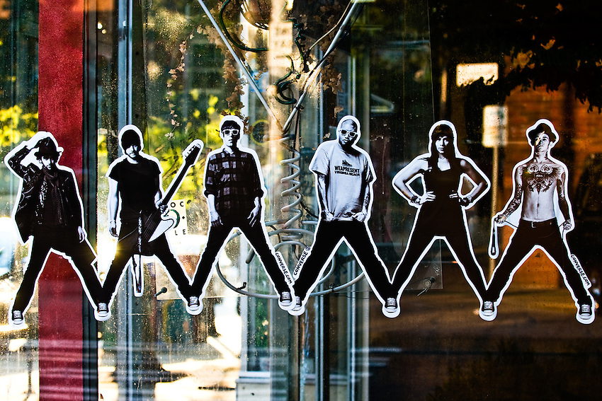 Photo of a decal on a retail window in the Belltown neighborhood of Seattle. Photograph by Robert Wade.