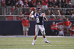 Mississippi quarterback Zack Stoudt (8) rolls out against Southern Illinois at Vaught-Hemingway Stadium in Oxford, Miss. on Saturday, September 10, 2011.  Ole Miss won 42-24.