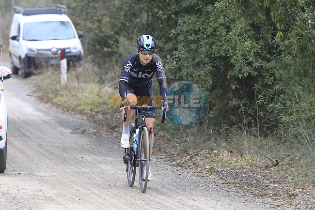 Michal Golas (POL) Team Sky on gravel sector 3 Radi during the 2017 Strade Bianche running 175km from Siena to Siena, Tuscany, Italy 4th March 2017.<br /> Picture: Eoin Clarke | Newsfile<br /> <br /> <br /> All photos usage must carry mandatory copyright credit (&copy; Newsfile | Eoin Clarke)