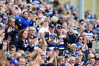 Bath Rugby supporters in the crowd celebrate a try. Aviva Premiership match, between Bath Rugby and Newcastle Falcons on September 10, 2016 at the Recreation Ground in Bath, England. Photo by: Patrick Khachfe / Onside Images
