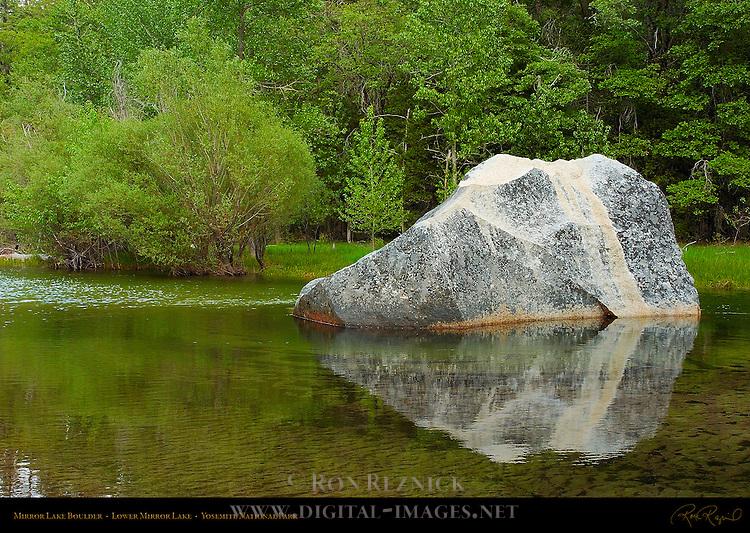 Mirror Lake Boulder in Spring, Lower Mirror Lake, Yosemite National Park