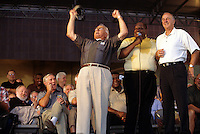 Fuzzy Thurston, Willie Davis and Max McGee revving up the crowd at the Lombardi Legends reunion in Green Bay in September of 2001. McGee died in 2007.