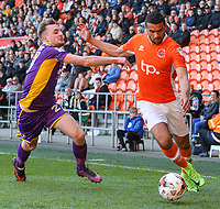 Blackpool's Colin Daniel takes on Cheltenham Town's Carl Winchester<br /> <br /> Photographer Alex Dodd/CameraSport<br /> <br /> The EFL Sky Bet League Two - Blackpool v Cheltenham Town - Saturday 22nd April 2017 - Bloomfield Road - Blackpool<br /> <br /> World Copyright &copy; 2017 CameraSport. All rights reserved. 43 Linden Ave. Countesthorpe. Leicester. England. LE8 5PG - Tel: +44 (0) 116 277 4147 - admin@camerasport.com - www.camerasport.com