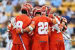 29 April 2016: Syracuse's Jordan Evans (22) celebrates his goal with teammates. The University of North Carolina Tar Heels played the Syracuse University Orange at Fifth Third Bank Stadium in Kennesaw, Georgia in a 2016 Atlantic Coast Conference Men's Lacrosse Tournament semifinal match.