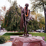 Mohandas K. (Mahatma) Gandhi Statue, Washington, D.C. The bronze statue was dedicated in June, 2000, and was erected by the Indian-American community and the Indian government. It stands across from the Indian Embassy near Dupont Circle.