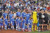 Chelsea players led by Petr Cech (yellow) await to enter the field..Manchester City defeated Chelsea 4-3 in an international friendly at Busch Stadium, St Louis, Missouri.