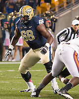 Pitt offensive tackle T.J. Clemmings (68). The Pitt Panthers defeated the Virginia Tech Hokies 21-16 at Heinz Field, Pittsburgh Pennsylvania on October 16, 2014