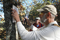NWA Democrat-Gazette/FLIP PUTTHOFF <br /> Steve Sampers with the Northwest Arkansas Naturalists (right) and Chris Jones with the Arkansas Natural Heritage Commission place boundary signs Oct. 21 2016 at Sweden Creek Falls Natural Area near Kingston. Northwest Arkansas Master Naturalists do volunteer maintenance at several sites in the region.
