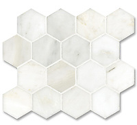 7cm Hex shown in honed Calacatta Radiance, is part of New Ravenna's Studio Line. All mosaics in this collection are ready to ship within 48 hours.<br />