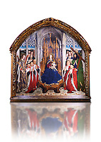 Gothic painted Panel Virgin of the &quot;Consellers&quot; by Lluis Dalmau. Tempera and gold leaf on wood. Date 1443-1445. Dimesions 316 x 312.5 x 32.5 cm. From the altar of the chapel of Barcelona City Hall. <br /> The prestige attached to Burgundian courtly culture and the painter Jan van Eyck explain why in 1431 King Alfons the Magnanimous sent his official painter, the Valencian Llu&iacute;s Dalmau, to Flanders, to learn the new realist language at first hand. In 1443, Dalmau was commissioned to paint this altarpiece for the chapel of the City Hall. This work was a breakthrough in Catalonia on account of the format, the technique used, as it was painted in oil, and the skilful illusionism of a figurative space in which that year's five councillors, painted from life, are represented on the same scale as the Virgin and the Saints. National Museum of Catalan Art, Barcelona, Spain, inv no: 015938-000