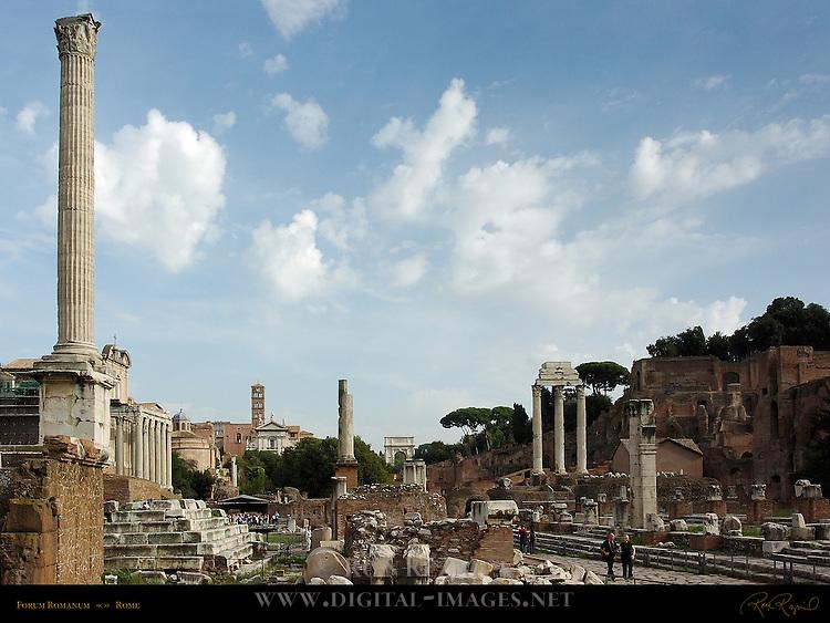 Forum Romanum Southeast View: Column of Phocas, Temple of Antonio and Faustina, Temples of Julius Caesar and Vesta, Arch of Titus, Temple of Castor and Pollux, Domus Tiberiana, Rome