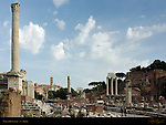 Forum Romanum Southeast View: Column of Phocas, Temple of Antonio and Faustina, Temples of Julius Caesar and Vesta, Arch of Titus, Temple of Castor and Pollux, Domus Tiberiana, Rome