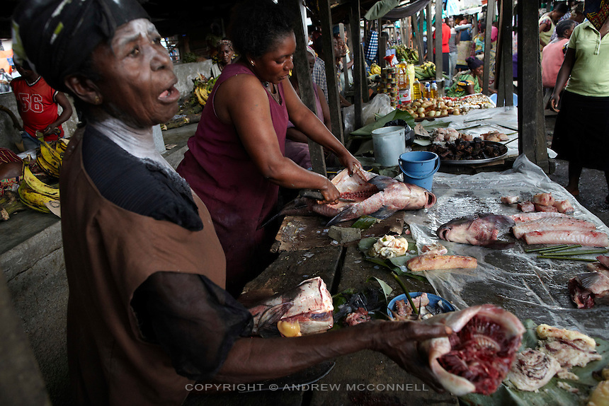 Women sell fish caught at Wagenia Falls in Kisangani market, DR Congo. Fish is a primary food source for the Congolese.