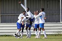 Stratford Juniors celebrate their fourth goal - Inter Moore (blue/black) vs Stratford Juniors (white) - East London Sunday League Jubilee Cup Final at Wadham Lodge - 01/05/11 - MANDATORY CREDIT: Gavin Ellis/TGSPHOTO - Self billing applies where appropriate - Tel: 0845 094 6026