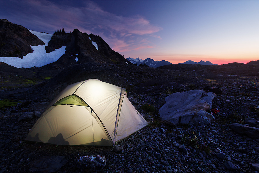 Backpacker's tent in upper Ferry Basin, Bailey Range Traverse, Olympic National Park, Washington