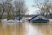 Residential area flooded by Ohio River, the flood of nineteen ninety seven, Utica, Indiana, USA.