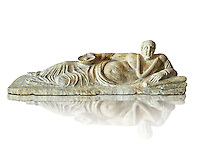 Etruscan Hellenistic style cinerary, funreary, urn cover with a man,  National Archaeological Museum Florence, Italy, white background