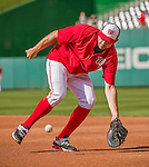 22 May 2015: Washington Nationals first baseman Ryan Zimmerman takes warm-up drills prior to a game against the Philadelphia Phillies at Nationals Park in Washington, DC. The Nationals defeated the Phillies 2-1 in the first game of their 3-game weekend series. Mandatory Credit: Ed Wolfstein Photo *** RAW (NEF) Image File Available ***