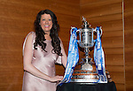St Johnstone FC Scottish Cup Celebration Dinner at Perth Concert Hall...01.02.15<br /> Fiona MacLeod and the Scottish Cup<br /> Picture by Graeme Hart.<br /> Copyright Perthshire Picture Agency<br /> Tel: 01738 623350  Mobile: 07990 594431
