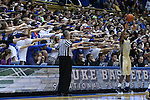 04 February 2015: Duke fans try to rattle Georgia Tech's Marcus Georges-Hunt (3) as he inbound the ball. The Duke University Blue Devils hosted the Georgia Tech Yellow Jackets at Cameron Indoor Stadium in Durham, North Carolina in a 2014-16 NCAA Men's Basketball Division I game. Duke won the game 72-66.