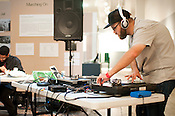 Christopher Weingarten plays a DJ set tribute to Public Enemy's album 'It Takes a Nation of Millions to Hold Us Back' before the Edward McKay Artist & Author series panel discussion at the Raleigh City Museum during the Hopscotch Music Festival in Raleigh, N.C., September 11, 2010.