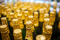 Bottles of sparkling apple cider in a supermarket in New York on Saturday, November 15, 2014. (© Richard B. Levine)
