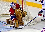 4 December 2008: Montreal Canadiens' goaltender Carey Price makes a first period save against the New York Rangers in their first meeting of the season at the Bell Centre in Montreal, Quebec, Canada. The Canadiens, celebrating their 100th season, played in the circa 1915-1916 uniforms for the evenings' Original Six matchup. *****Editorial Use Only*****..Mandatory Photo Credit: Ed Wolfstein Photo