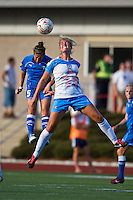 Boston Breakers forward Amanda DaCosta (5) and Chicago Red Stars defender Lauren Fowlkes (9) compete for a high ball.  The Boston Breakers beat the Chicago Red Stars 1-0 at Dilboy Stadium.