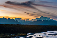 Mt McKinley, (Denali), North America's tallest mountain at 20,320 ft, view of the South Summit, Chulitna river, Denali National Park, interior, Alaska.