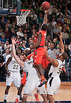 Syracuse guard Dion Waiters (3) knocks down Notre Dame Fighting Irish forward Jack Cooley (45) in the first half. Waiters was called for a charging foul on the play.