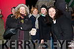 Kate O'Donnell and Gaby Wheeler, from Ventry, with Anne McKiernan and Grainne Wolfe waiting outside St. James Church in Dingle for Other Voices over the weekend.