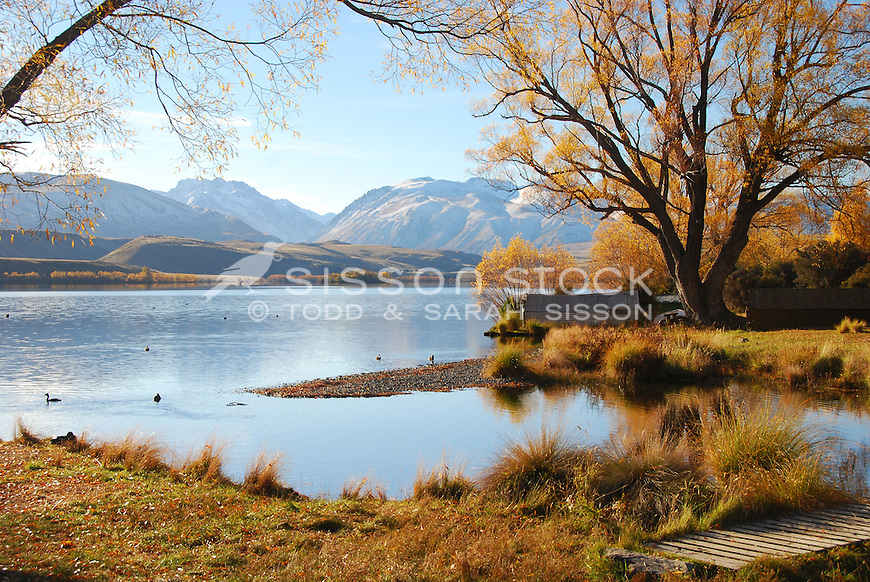 A calm and tranquil autumn afternoon at Lake Alexandrina near Lake Tekapo.