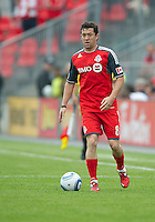 Toronto FC defender Dan Gargan #8 in action during an MLS game between the Philadelphia Union and the Toronto FC at BMO Field in Toronto on May 28, 2011..The Philadelphia Union won 6-2..